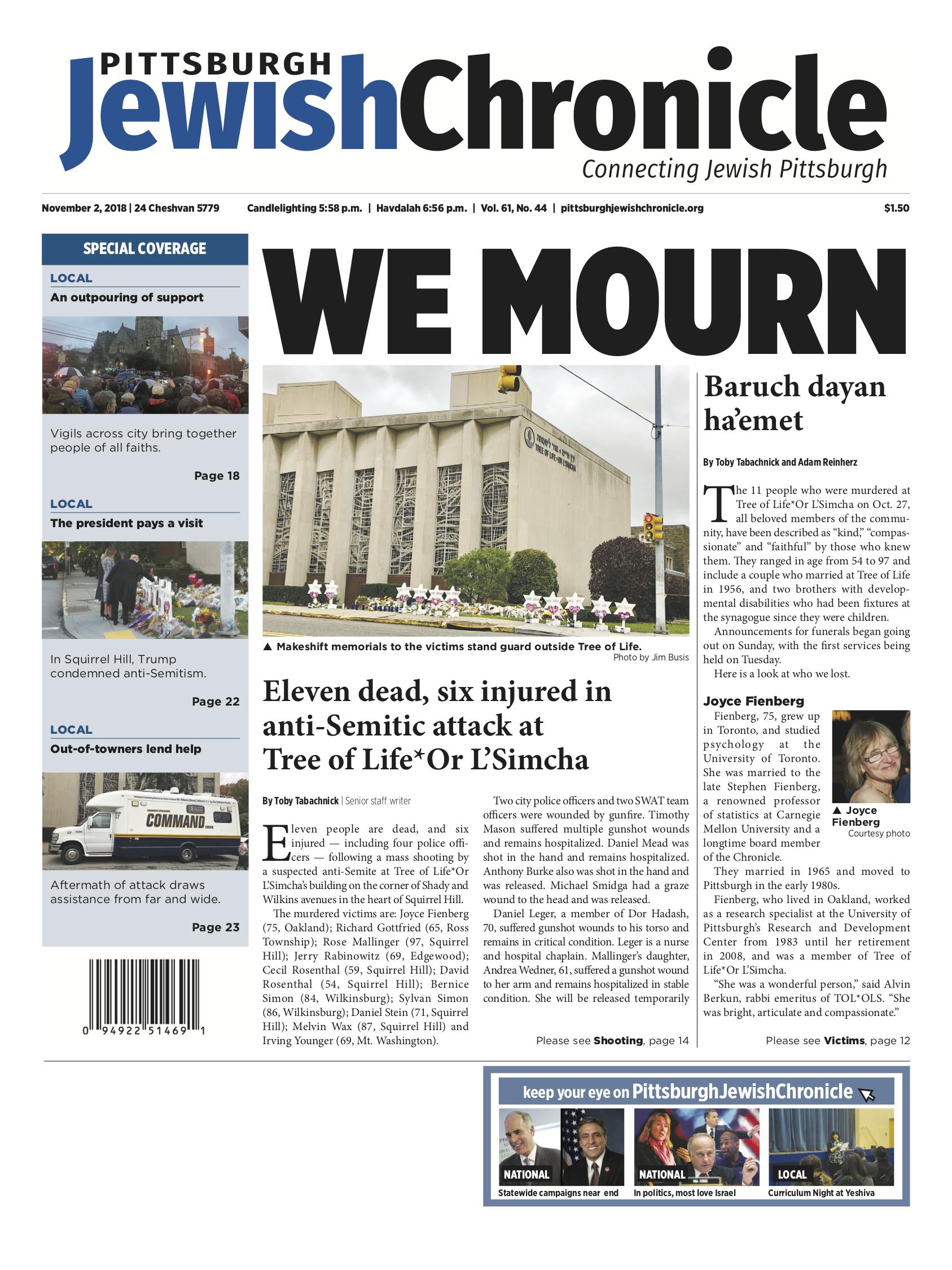 Pittsburgh Jewish Chronicle 11/2/2018