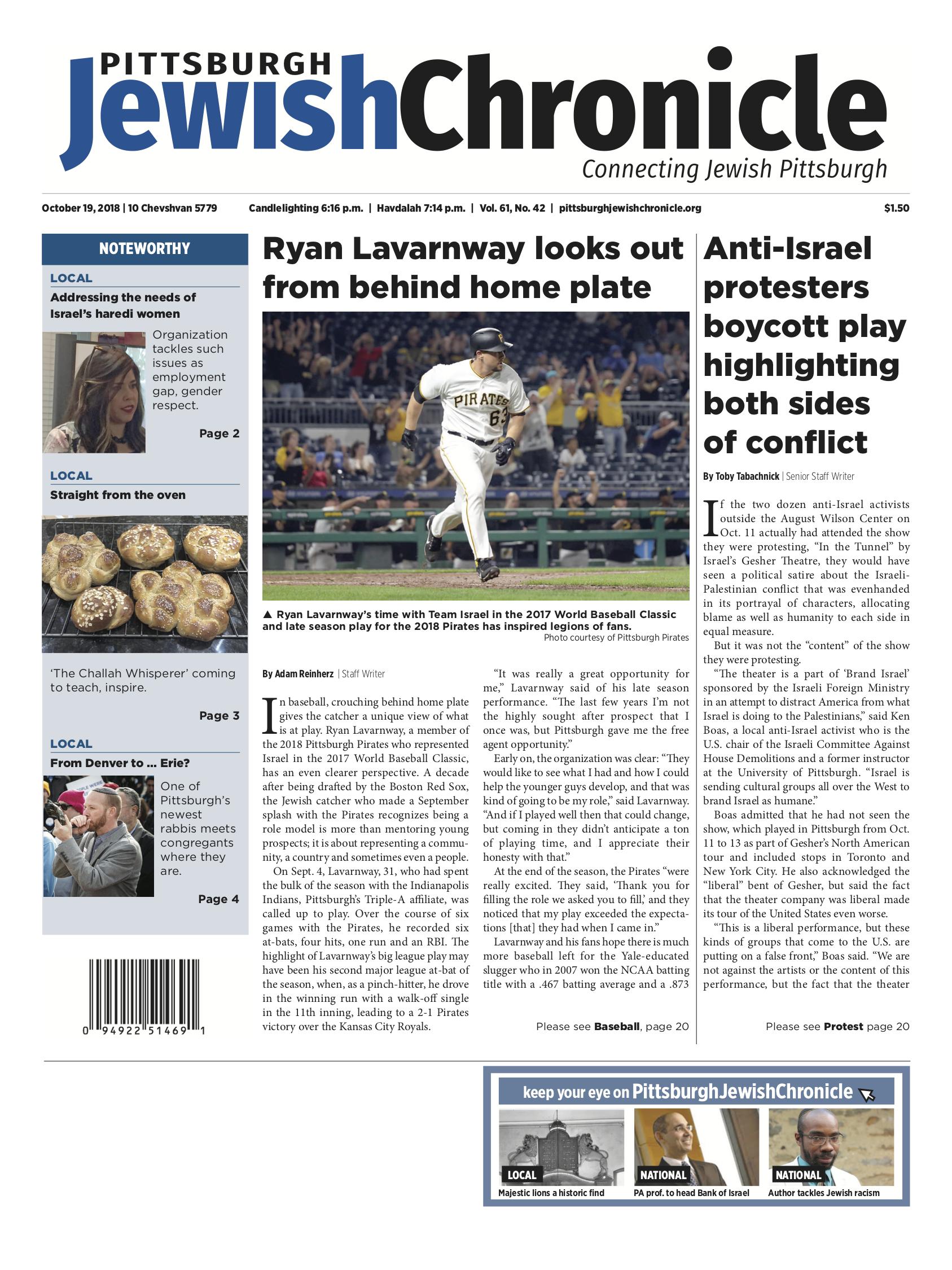 Pittsburgh Jewish Chronicle 10/19/2018