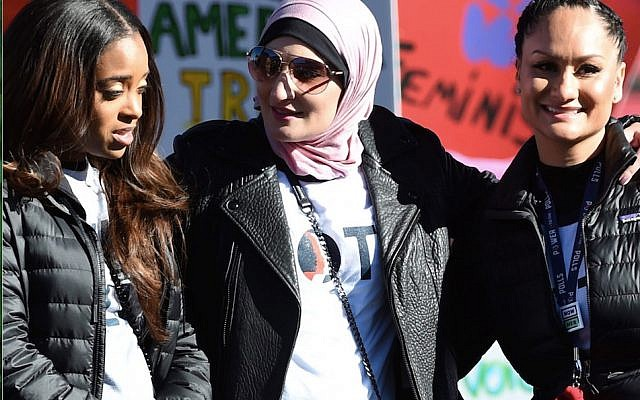 "From left: Tamika Mallory, Linda Sarsour and Carmen Perez at the Women's March ""Power to the Polls"" voter registration tour launch last January in Las Vegas.   Getty Images"