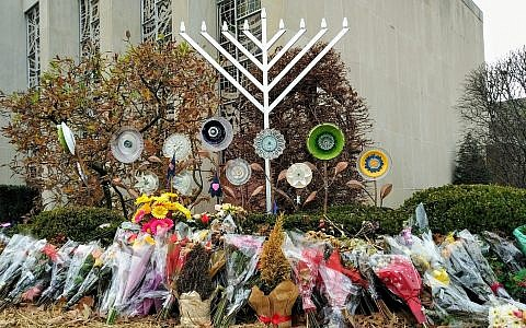 Following the Oct. 27, 2018, shooting flowers were placed outside of the Tree of Life building. Photo by Adam Reinherz