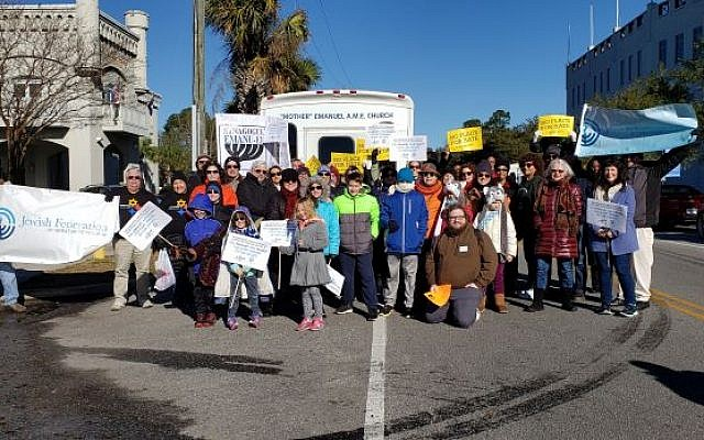 Members of the New Light Congregation delegation to Charleston were joined by others during the Martin Luther King Jr. Day parade.  Photo by Brandon Fish of the Jewish Federation of Charleston