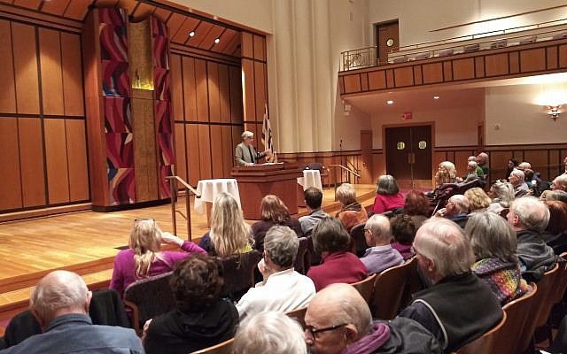 Kathleen Blee addresses an audience at Rodef Shalom Congregation. Her address was sponsored by Congregation Dor Hadash's Adult Education Committee.   (Photo by Dave Rullo)