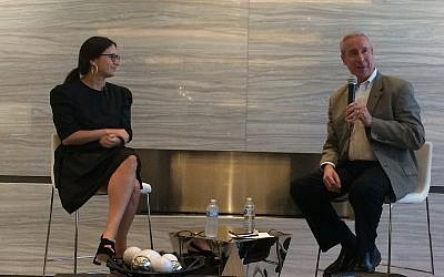 Journalist Bari Weiss discusses current events with Rabbi Danny Schiff at the Federation's snowbird event in Sarasota, Florida.  (Photo by Toby Tabachnick)