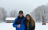 Raz Levin and Hadar Maravent enjoy the first snow. Photo courtesy of Jewish Federation of Greater Pittsburgh