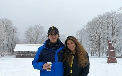 Raz and Hadar enjoy the first snow. Photos courtesy of Jewish Federation of Greater Pittsburgh