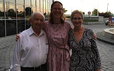 Holocaust survivor Howard Chandler, Leigh Ann Totty, and Hedy Chandler (Howard's daughter) in Krakow, Poland summer 2016. Study Tour conducted by Classrooms without Borders.  Photo provided by Leigh Ann Totty