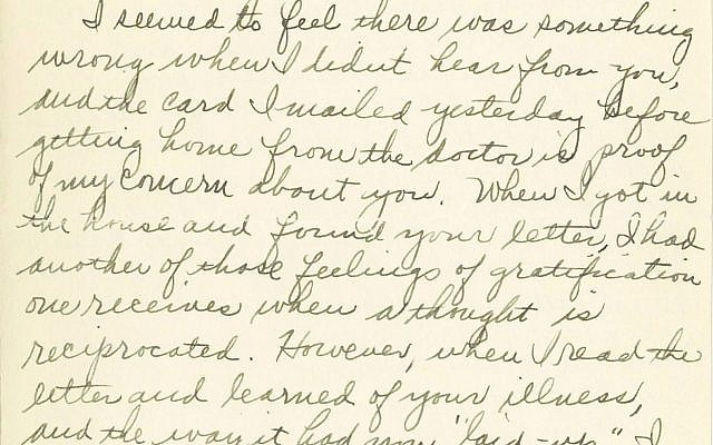 "A woman named ""Eve"" wrote to her friend ""Dorothy"" in March 1936, describing the destruction caused by recent flooding.   (Image courtesy of Rauh Jewish History  Program & Archives)"