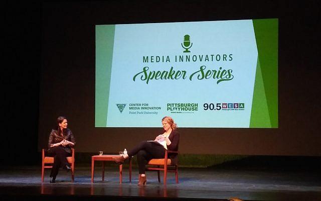 Melissa Block, left, and Lucy Perkins chat. (Photo by Adam Reinherz)