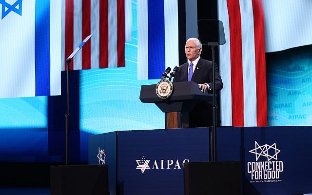 Vice President Mike Pence addresses the AIPAC Policy Conference Monday morning. (Photo courtesy of AIPAC)