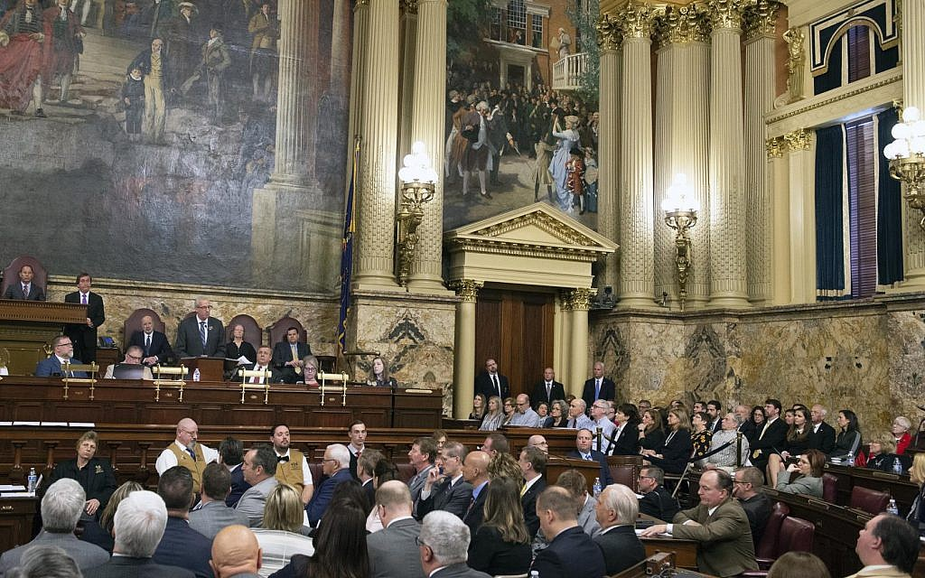 Rep. Dan Frankel speaks during the 'Stronger Than Hate Day' as the Pennsylvania Legislature held a rare joint legislative session to honor the victims of the terror attack at the Tree of Life building. Photo courtesy of PAHouse.com