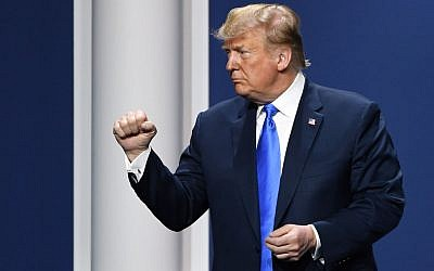 President Donald Trump gestures after speaking during the Republican Jewish Coalition's annual leadership meeting at The Venetian Las Vegas, April 6, 2019. (Ethan Miller/Getty Images)