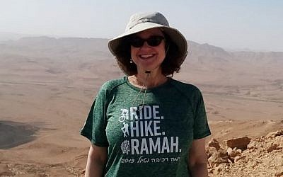 Lorraine Mackler was one of nearly 40 hikers who traversed the Negev in order to raise money for Camp Ramah's Tikvah Program. Photo courtesy of Lorraine Mackler