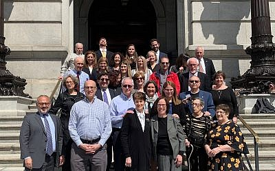A Pittsburgh delegation, including family members of the victims, survivors of the October 27 attack and community members,   traveled to Harrisburg for the historic joint session. Photo courtesy of Barry Werber