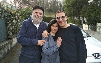 Abraham Azagury (right) stands beside his parents Rabbi Salomon and Corrine Azagury shortly before leaving Aix-les-Bains. Photo by Adam Reinherz