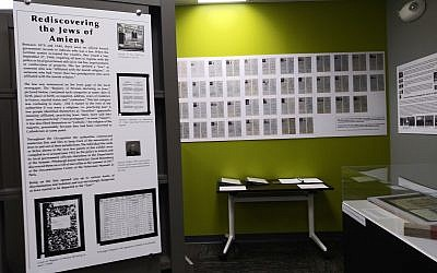 "Forty-three photo-identification cards make up the bulk of the exhibit ""Rediscovering the Jews of Amiens"" and tell the story of a group of Jewish men and women doomed to be forgotten if not for the research of South Hills native. (Photo by David Rullo)"