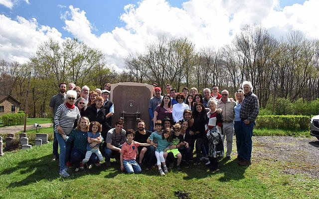 The extended Kushner family poses for a photo at the installation of the fountain at Adath Jeshurun Cemetery. (Photo provided by Louis Kushner)