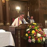 More than 100 people gathered Friday, May 3 at Rodef Shalom Congregation to honor Rabbi Sharyn Henry's 20th anniversary at the congregation. Attendees enjoyed a special Oneg after the service in Aaron Court. Photo courtesy of Stephanie Rex