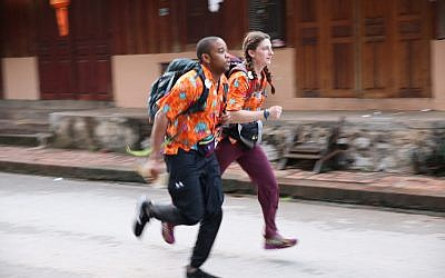 "Becca Droz and her ""Amazing Race"" partner Floyd Pierce are back and they are ""funstoppable."" (Photo courtesy of CBS)"