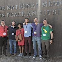 Caption: The Pittsburgh contingent, from left: Mark Frank, Rabbi Jeremy Weisblatt, Lindsay Powell, Josiah Gilliam, Josh Sayles, and Rabbi Jeremy Markiz.  Photo courtesy of Josh Sayles