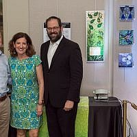 Dave Kalla, right, traveled to Austin, Texas, to represent the three congregations targeted on Oct. 27. Kalla is joined by Susan Ribnick and Rabbi Neil F. Blumofe, of Congregation Agudas Achim in Austin.   Photo courtesy of Dave Kalla