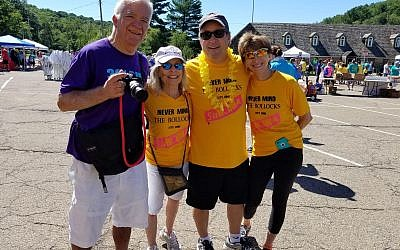 Howard Louik (left), Joan Rothaus, Rod Rothaus and Betty Jo Louik at last year's PCS walk. Photo courtesy of Rod Rothaus