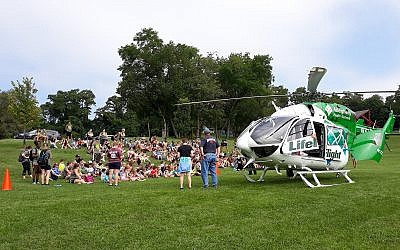 Color war breakout this summer involved landing a helicopter at the Jewish Community of Greater Pittsburgh's James and Rachel Levinson Day Camp. Photo courtesy of the Jewish Community Center of Greater Pittsburgh