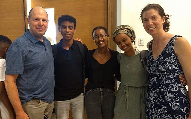 Brian Eglash, left, and Kim Salzman, far right, met with recipients of a medial arts scholarship for Ethiopian Israeli students, made possible by a recent anonymous donation to the Jewish Federation of Greater Pittsburgh. Photo courtesy of Kim Salzman