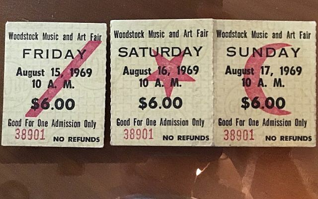 Mark Schreiber's original tickets to Woodstock. (Photo provided by Mark Schreiber)