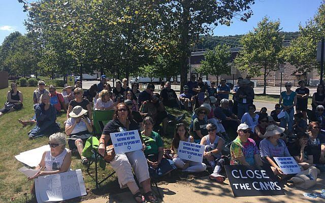 Protestors gathered for a Tisha B'Av program. Photo courtesy of Rabbi Mark Asher Goodman