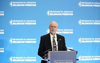 Rabbi Myers speaking at the Ministerial to Advance Religious Freedom at the State Department in Washington D.C. on July 16, 2019. Photo courtesy of the State Department.