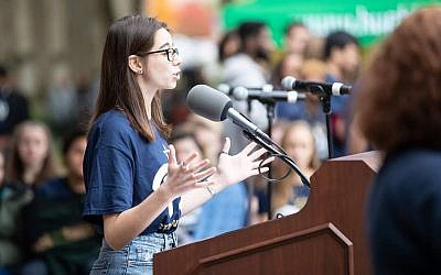"Kathryn Fleisher speaking at a ""Stronger Than Hate"" rally at Pitt after the Tree of Life shooting. Photo courtesy of Kathryn Fleisher"