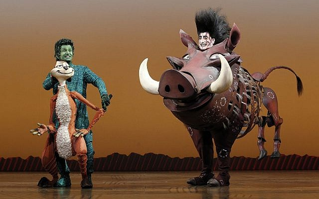 Nick Cordileone as Timon and Ben Lipitz as Pumbaa in Disney's 'The Lion King' North American tour. (Photo by Joan Marcus for Disney.)