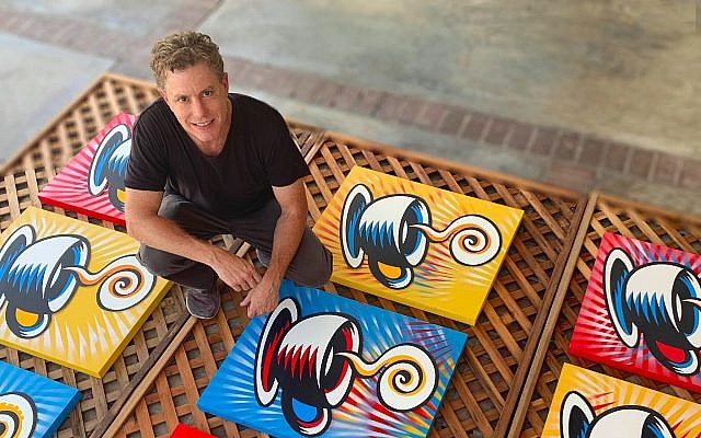 "Artist Burton Morris with ""Friends"" Coffee Cups ( 2019 ) (Photo provided by Burton Morris)"