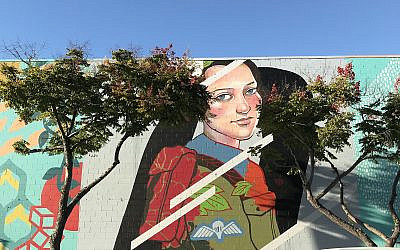 Robertson painted a mural of Hannah Senesh in downtown San Diego.