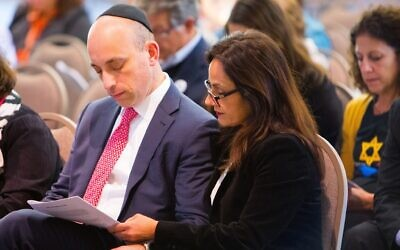 ADL CEO Jonathan Greenblatt and his wife Marjan Keypour Greeenblatt on Oct. 27, 2019, at Soldiers & Sailors Memorial Hall in Pittsburgh to commemorate the massacre at the Tree of Life building.  (Photo by Sean Carroll/ADL)