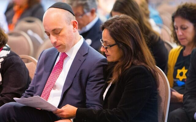 ADL CEO Jonathan Greenblatt and his wife Marjan Keypour Greeenblatt at Soldiers & Sailors Memorial Hall to commemorate the massacre on Oct. 27, 2019. (Photo by Sean Carroll/ADL)