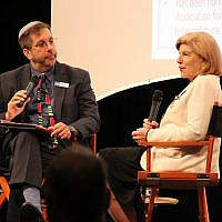 Rabbi Ron Symons listens as National Public Radio legal affairs correspondent Nina Totenberg discusses her reporting on the Supreme Court.   Photo courtesy of Jewish Community Center of Greater Pittsburgh