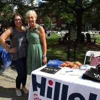 Leah Berman-Kress (left) and faculty advisor Dr. Martina Wells at the Chatham activities fair this fall. (Photo provided by Danielle Kranjec)