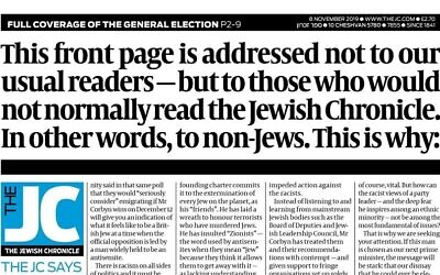 A UK Jewish Chronicle editorial spoke directly to non-Jews about Labour Party leader  Jeremy Corbyn. Source: Screenshot