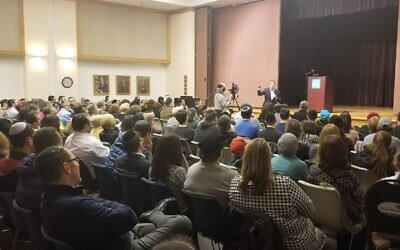 About 100 gathered on Nov. 18  for an opening event with Charlie Harary. Photo courtesy of Mordechai Milch.