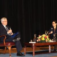 University of Pittsburgh Chancellor Emeritus Mark Nordenberg speaks with Bari Weiss. Photo by Jim Busis