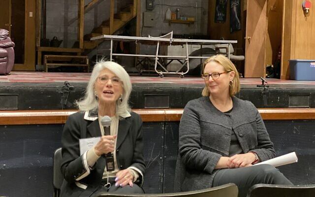 Jamie deRoy, left, and Kim Weild , who oversees CMU's directing programs (Photo by Toby Tabachnick)