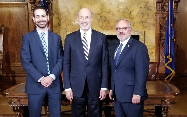 From left: Josh Sayles, Gov. Tom Wolf, Jeff Finkelstein (Photo provided by Josh Sayles)