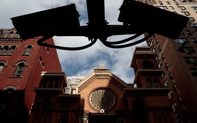 NEW YORK, NY - MARCH 3: Security cameras hang across the street from the Park East Synagogue, March 3, 2017 in New York City. Earlier on Friday morning in St. Louis, Federal Bureau of Investigation (FBI) authorities arrested Juan Thompson, who is alleged to have recently made numerous threats against Jewish community centers, Jewish schools, a Jewish museum and the Anti-Defamation League. (Photo by Drew Angerer/Getty Images)