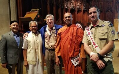 CW Kreimer, center, joined area faith leaders and representatives of the Boy Scouts at Rodef Shalom Congregation.   Photo courtesy of CW Kreimer