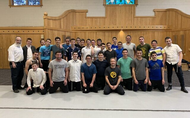 Yeshiva students and staff are joined by Warren Stout and Alec Rieger. Photo courtesy of Alec Rieger