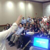 Rabbi Jeremy Markiz addresses the crowd. Photo courtesy of Rabbi Seth Adelson