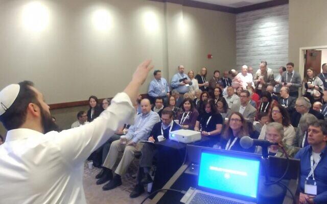 Will Judaism still hold large community events like this one, taken from Rabbi Jeremy Markiz presentation at the USCJ conference? Rabbi Jeremy Markiz. Photo courtesy of Rabbi Seth Adelson