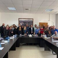 JCPA mission delegation with Fatah spokesperson and member, Osama Qawasmi  Photo by Randal Whitlatch