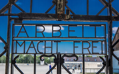 "Dachau, Germany - May 11, 2018: ""Arbeit macht frei"", that was the first thing the new inmates in the Dachau concentration camp got to read. The Dachau concentration camp was in operation from 1933 to 1945 under National Socialist rule. Today it is a memorial."